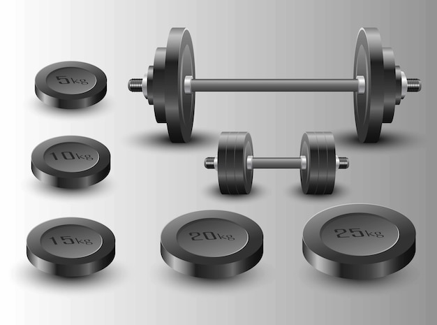 Illustration of gym heavy metal barbell