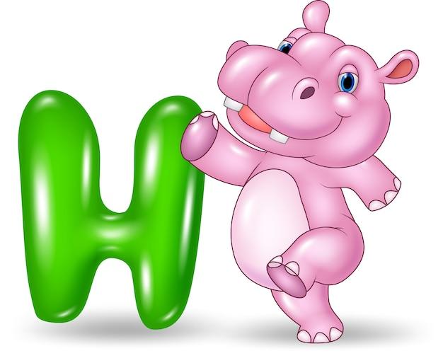 Illustration of h letter for hippo