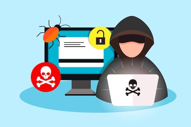 Illustrazione del concetto di attività di hacker
