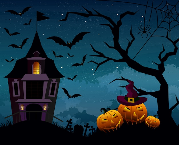 Illustration of halloween background with silhouettes of pumpkins and terrible house or castle in the cemetery on dark blue night sky. halloween postcard in flat cartoon style.