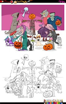 Illustration of halloween characters group color book