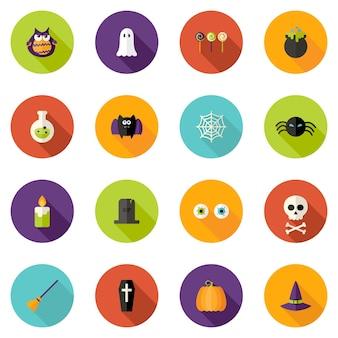 Illustration of halloween flat circle icons set