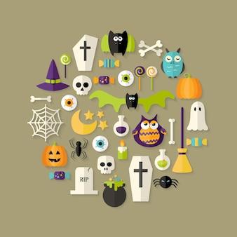 Illustration of halloween flat icons set over light brown
