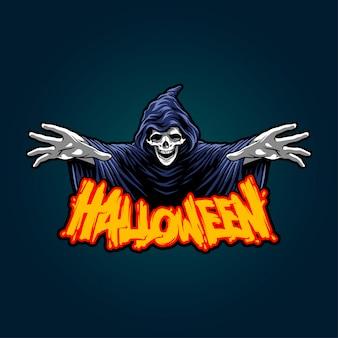 Illustration of halloween grim reaper