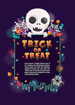 Illustration halloween invitation card. halloween template with skull and spooky decoration
