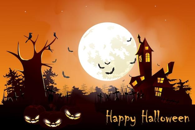 Illustration of halloween night with full moon behind