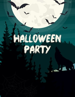 Illustration halloween party invitation or greeting card. wolf silhouette, bat and moon on dark sky background.