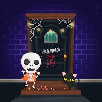 Illustration. halloween poster with cute character on brick and scary door . trick or treat template.