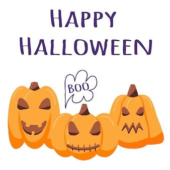 Illustration of halloween pumpkins halloween poster