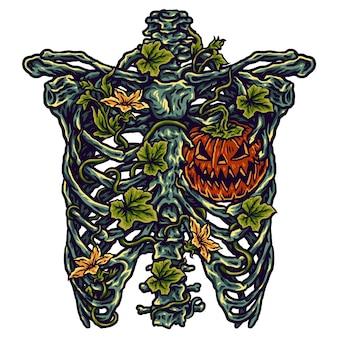 Illustration of halloween and skeletal bones
