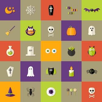 Illustration of halloween square flat icons set