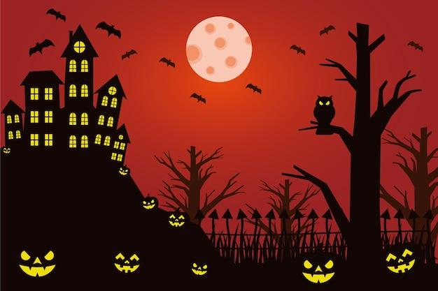 Illustration halloween with house pumpkin