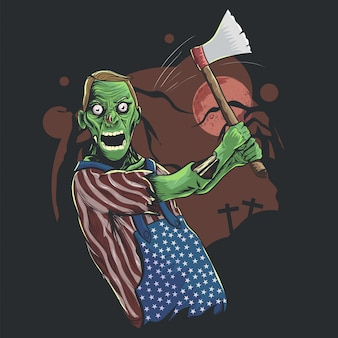 Illustration of halloween zombie holding axe