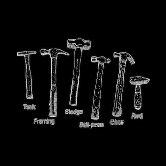 Illustration of hammers set