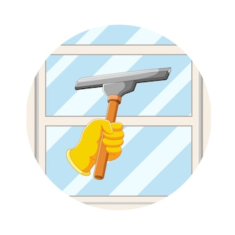 The illustration of the hand clean the windows with the window cleaner