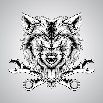 Illustration hand drawing angry wolf head with engraving style vector