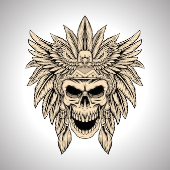 Illustration hand drawing chief skull eagle