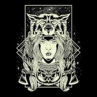 Illustration hand drawing geometry women chief wolf head