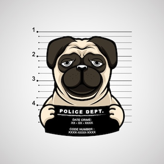 イラスト手描きのバナーを持っているパグ犬のマグショット。プレミアム