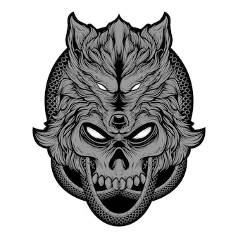 Illustration hand drawing skull wolf head with snake skin round. premium