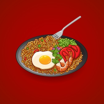 Illustration hand drawing vector noodle with egg, tomato, shrimp, cucumber, celery, plate and fork