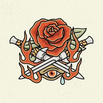 Illustration hand drawing with rough line art, concept of not all beautiful are kindly. rose and knife hand drawing with one eyes Premium Vector
