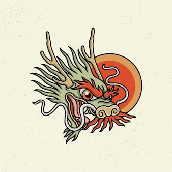 Illustration hand drawing with rough line art, concept from the head of the japanese dragon