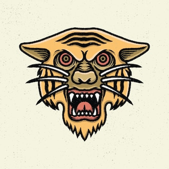 Illustration hand drawing with rough line art, concept of head of tiger