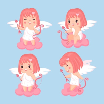 Illustration of hand drawn cupid character collection