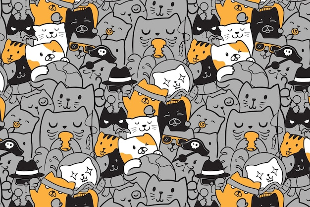 Illustration hand drawn cute cats seamless pattern