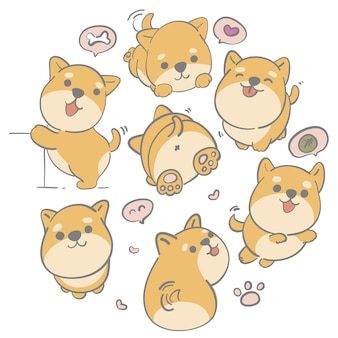 Illustration hand drawn cute shiba dog