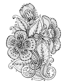 Illustration of hand drawn fancy flower branch and leaves. black and white graphic for tattoo, print, coloring book.  on white background.