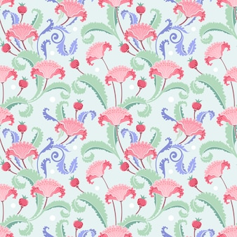 Illustration  hand drawn flowers and branches seamless pattern fabric textile.