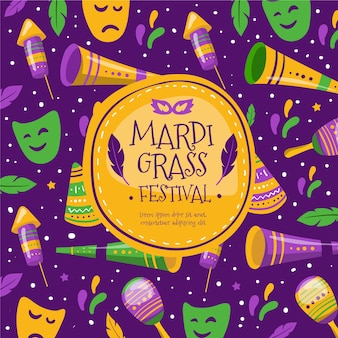 Illustration of hand drawn mardi gras elements