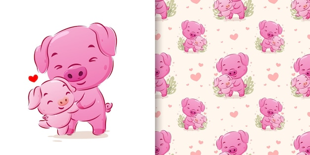 The illustration hand drawn of the pig dancing with her baby in seamless pattern set