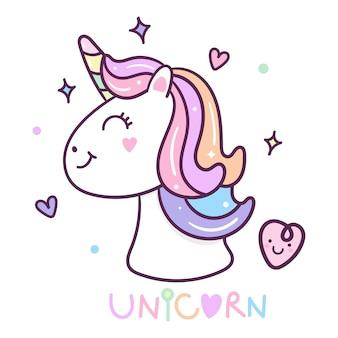 Illustration hand drawn unicorn head icon