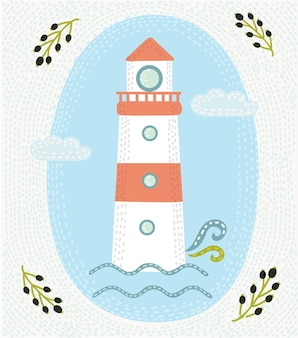 Illustration of hand drawn vintage label with a light house and lettering.
