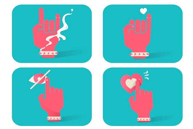 Illustration of hand gesture icons set on blue background