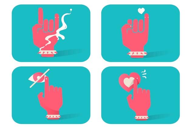 Illustration of hand gesture icons set on blue background