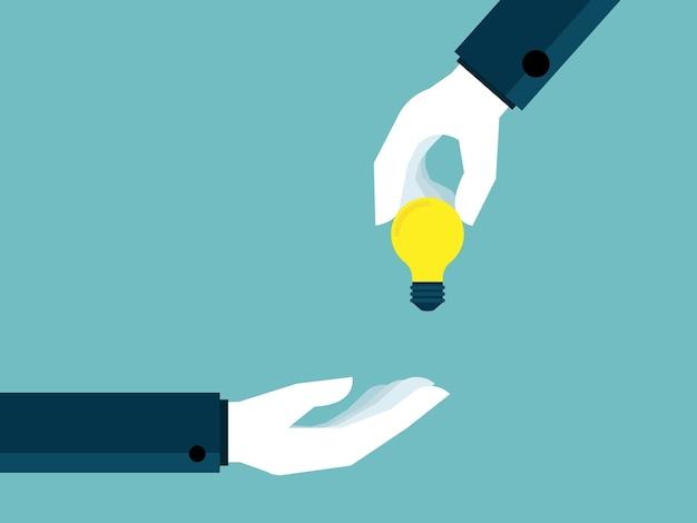 Illustration of hand giving bulb idea