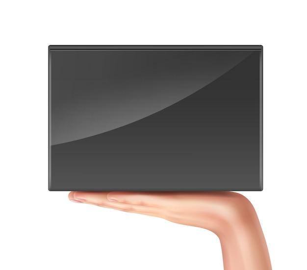 Illustration of hand holding black box on palm