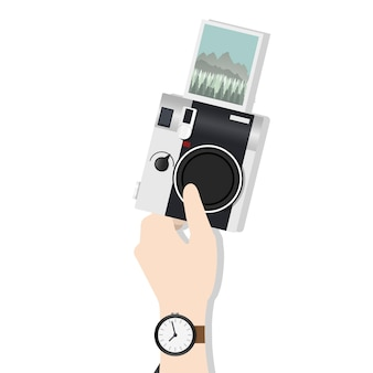 Illustration of hand holding camera