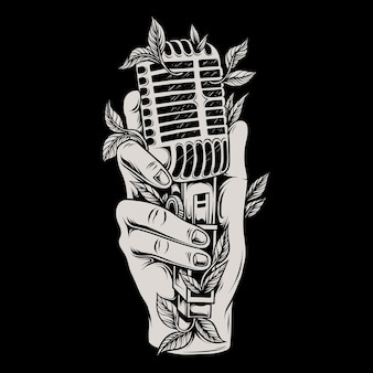 Illustration of a hand holding a classic microphone