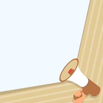 Illustration of hand holding megaphone making loudly wonderful new announcement. palm drawing using a bullhorn giving powerful great new advertisement.