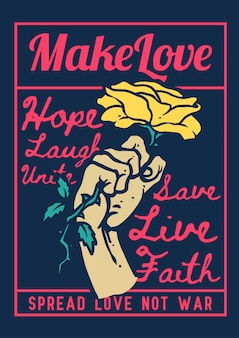 Illustration of a hand holding rose symbol of love and propaganda with retro vintage colors