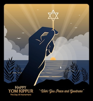 An illustration of a hand holding the star of david on rosh hashanah and yom kippur celebration day