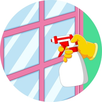 The illustration of the hand holds the spray to clean the window