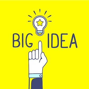 Illustration of hand and light bulb with handwrite text on yellow background. bright color.