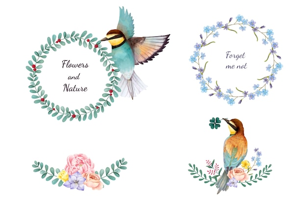 Illustration of hand painted flowers and birds isolated on white background