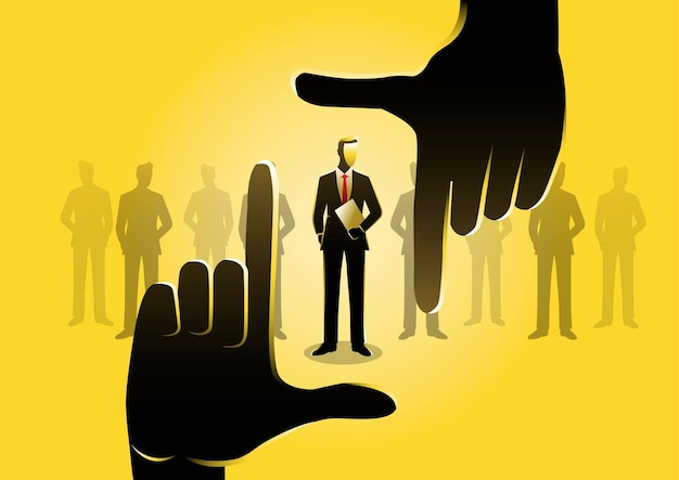 An illustration of hands choosing best candidate. business concept